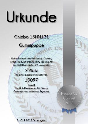 HNDX Urkunde Contest 2016 Platz02