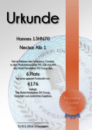 HNDX Urkunde Contest 2016 Platz06
