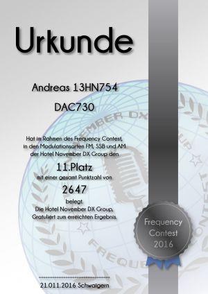 HNDX Urkunde Contest 2016 Platz11