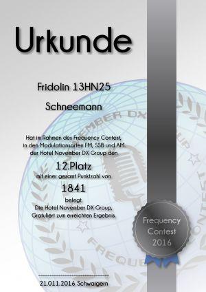HNDX Urkunde Contest 2016 Platz12