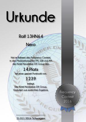 HNDX Urkunde Contest 2016 Platz14